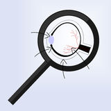 The magnifying glass is hovering over the human eye. And the arrow Royalty Free Illustration