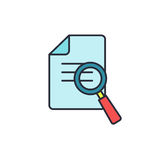 Magnifying glass icon with checklist, document - business  . Royalty Free Stock Photos