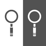 Magnifying glass icon on a dark and white backgrounds. Vector illustration stock illustration