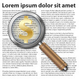 Magnifying glass icon with dollar symbol. On text background Stock Photos