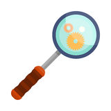 Magnifying Glass Icon Focused on Gear Elements. Stock Images