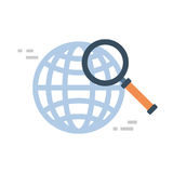 Magnifying Glass Icon Global Data Search Concept. Vector Illustration Stock Images