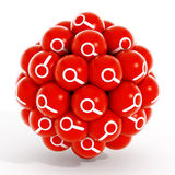 Magnifying glass icon inside red spheres Stock Photography