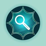 Magnifying glass icon magical glassy sunburst blue button sky blue background. Magnifying glass icon isolated on magical glassy sunburst blue button sky blue stock illustration