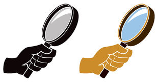 Magnifying Glass Icon. A magnifying Glass logo icon with hand vector illustration