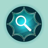 Magnifying glass icon magical glassy sunburst blue button sky blue background. Magnifying glass icon isolated on magical glassy sunburst blue button sky blue royalty free illustration