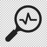 Magnifying glass icon with pulse. Vector illustration on isolate. D transparent background. Business concept loupe analysis pictogram Stock Images