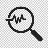 Magnifying glass icon with pulse. Vector illustration on isolate. D transparent background. Business concept loupe analysis pictogram Royalty Free Stock Photo
