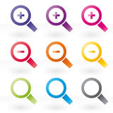 Magnifying glass icon set. Magnifying glass color icon set Royalty Free Stock Photos