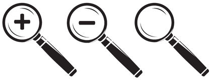 Magnifying glass icon set isolated on white background. Royalty Free Stock Photo
