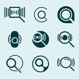 Magnifying glass icon set. Search loupe symbol. Vector illustration Royalty Free Stock Images