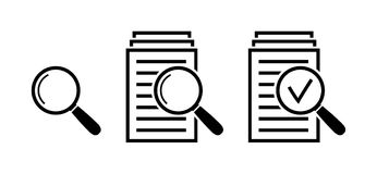 Magnifying glass icon set, search documents signs. Magnifying glass icon set, check assess signs, symbols of scrutiny plan in flat style, search documents icons Stock Photo