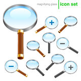 Magnifying glass icons. Realistic magnifying glass icon for web or software