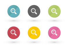 Magnifying glass icons. In multiple colors royalty free illustration