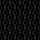 Magnifying Glass Icons Seamless Pattern. Isolated on Black Background Stock Image