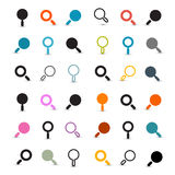 Magnifying Glass Icons Set Stock Images