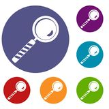Magnifying glass icons set. In flat circle red, blue and green color for web Royalty Free Stock Photo