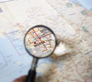 Magnifying glass on incheon, korea map. Glass magnifying Incheon state on Korea tourism map royalty free stock photography