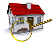 Magnifying glass increases the damage on the wall. 3d home. 3d rendering Royalty Free Stock Photography