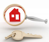 Magnifying glass inspects a home. Concept of search of house for residence, real estate investment, inspection Stock Photo