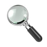 Magnifying Glass Isolated on White. Magnifying Glass with Silver Border, Isolated on White Stock Photos