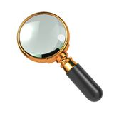 Magnifying Glass Isolated on White. Magnifying Glass with Gold Border, Isolated on White Stock Photography