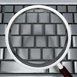 Magnifying Glass And Keyboard Shows Blank Copyspace Searching Stock Photography