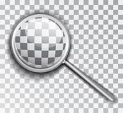 Magnifying Glass. Lens is a transparent background. Isolated vector object.  royalty free illustration