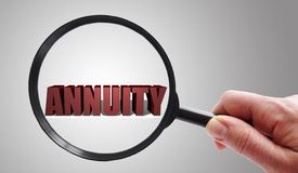 Magnified Annuities concept royalty free stock photography