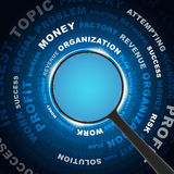 Magnifying glass looking Business words Stock Photos