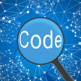 Magnifying glass looking Code Stock Images