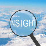 Magnifying glass looking INSIGHT Royalty Free Stock Photos
