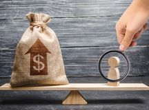 Magnifying glass is looking at a money bag with up arrow and man figurine on scales. Criteria and requirements for increasing. The work of a specialist. The royalty free stock photo