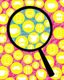 Magnifying glass looking for type of business. The magnifying glass looking for type of business Stock Image