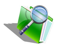 The magnifying glass (Loupe) and green folder Royalty Free Stock Images