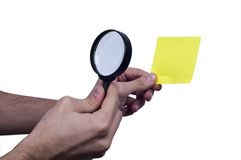 Magnifying  Glass on the Male Hand. investigative  something using by tool Royalty Free Stock Photos
