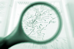 Magnifying glass and the map. Magnifying glass behind the Chinese city map Stock Photo