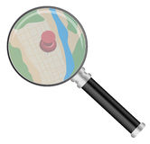 Magnifying Glass and Map Stock Images