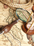 Magnifying glass and map Royalty Free Stock Photo