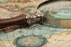 Magnifying glass and  map Royalty Free Stock Photography