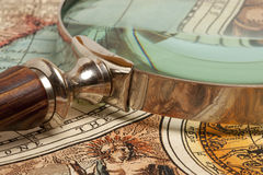 Magnifying glass and  map Royalty Free Stock Images