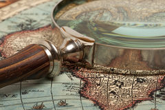 Magnifying glass and  map Royalty Free Stock Image