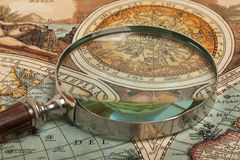 Magnifying glass and  map Royalty Free Stock Photos