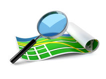 Magnifying glass with map Stock Photo