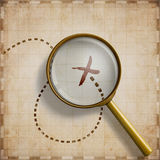 Magnifying glass with marked location on old map 3d illustration Royalty Free Stock Image