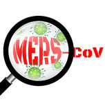 Magnifying glass with Mers virus Stock Image