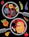 Magnifying glass and microbes in it. Royalty Free Stock Images