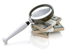 Magnifying glass and money. In the design of information related to money and business Stock Images