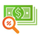 Magnifying glass and money flat icon. Search dollar color icons in trendy flat style. Lens and cash gradient style. Design, designed for web and app. Eps 10 royalty free illustration