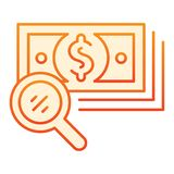Magnifying glass and money flat icon. Search dollar orange icons in trendy flat style. Lens and cash gradient style. Design, designed for web and app. Eps 10 royalty free illustration